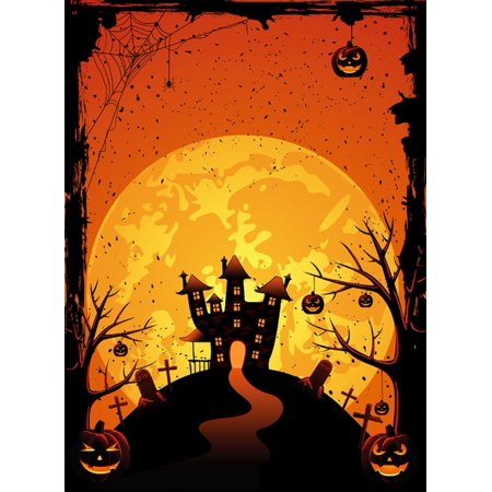 GreenDecor Polyster 5x7ft Spooky Halloween Scary Pumpkins Graves Spider Cobweb Hauted House Photography Backdrops Indoor Studio Backgrounds Photo - Scary Halloween Photography