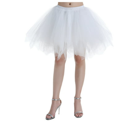 Black Tutu Womens (Market In The Box 1950s Women Tutu Skirt Vintage Short Tulle Petticoat Ballet Bubble Skirt Cocktail Dress Cosplay Skirt Puffy)