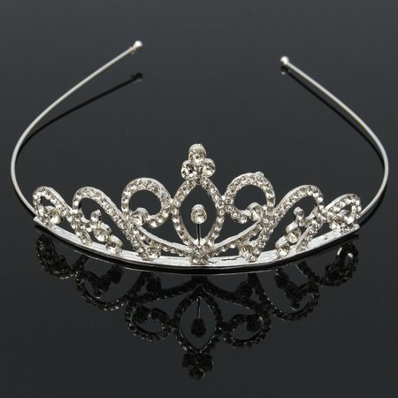 Princess Austrian Bridal Crystal Wedding Hair Tiara Crown Prom Veil Headband (International Silver Golden Tiara)