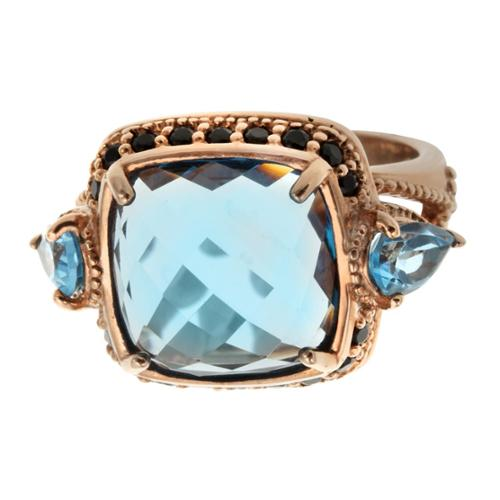 14k Rose Vermeil Cushion Shaped Swiss Blue Topaz and Black Spinel Ring Size 9