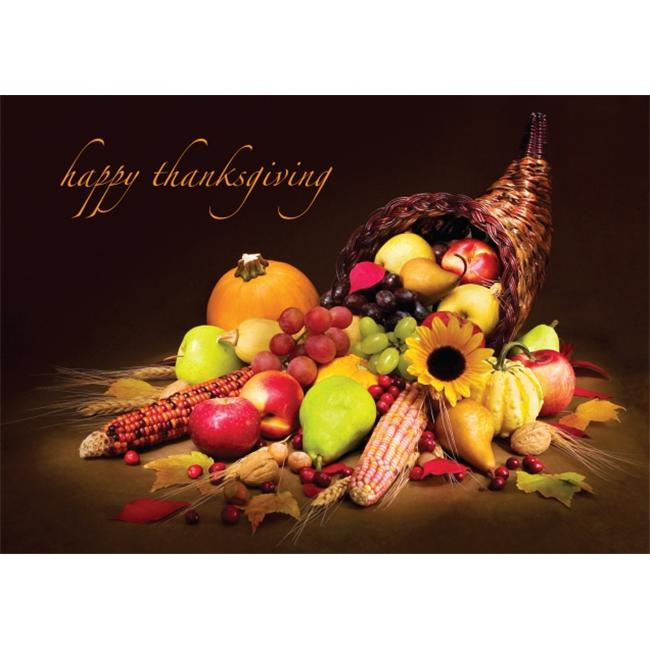 Birchcraft Studios 2152 Autumn Cornucopia - Gold Lined Envelope with White Lining - Brown Ink - Pack of 25