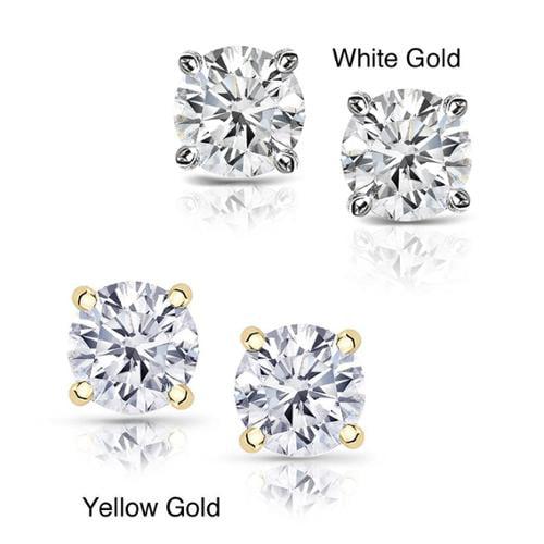 14k Gold 2ct TDW Clarity-enhanced Diamond Stud Earrings E-F, I1-I2 - White Gold