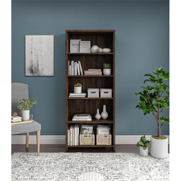 mainstays heritage 5 shelf bookcase walnut