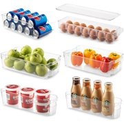 Set Of 6 Refrigerator Organizer Bins - Stackable Fridge Organizers for Freezer, Kitchen, Countertops, Cabinets - Clear Plastic Pantry Storage Racks