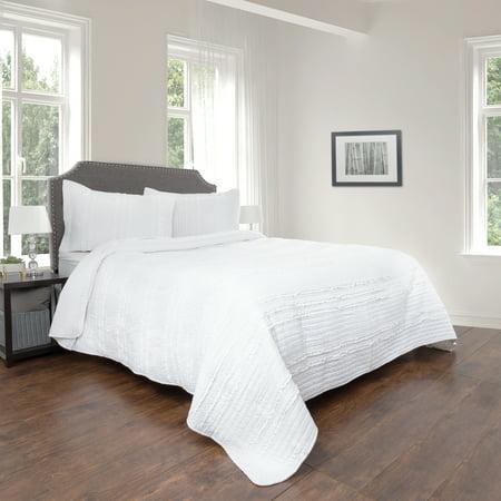 Quilt and Sham Set- Hypoallergenic 2 Piece Oversized Twin Quilt Bed Set with Striped Ruffle Design- Kadryn Series By Lavish Home (White) Boy Twin Quilt Sham