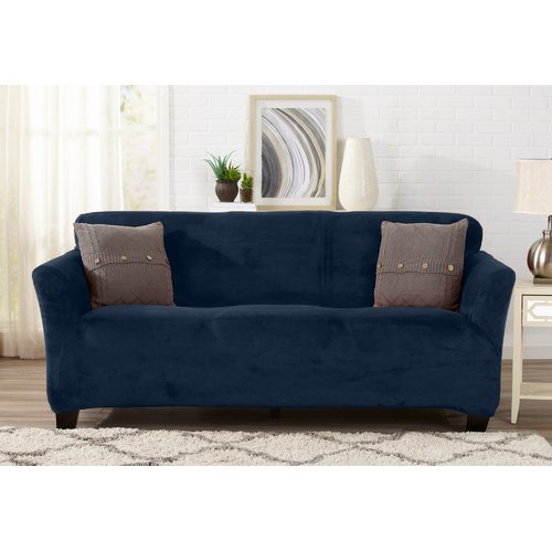 Symple Stuff Velvet Plush Form Fit T Cushion Sofa Slipcover