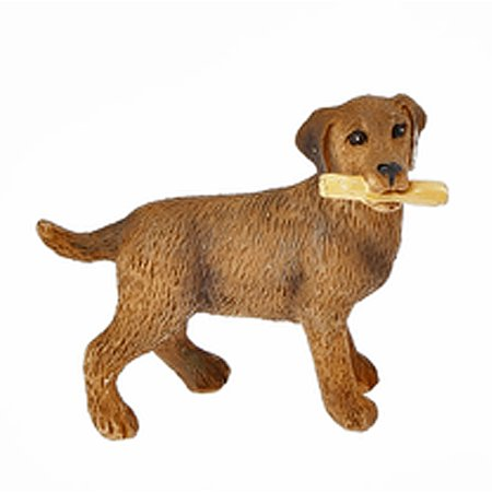 Miniature Dog - Brown Colored Miniature Dog Figure With Stick in Mouth - By Ganz