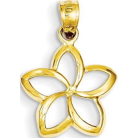 14k Yellow Gold Polished Small Cut-out Plumeria (14x22mm) Pendant / Charm - image 2 of 2
