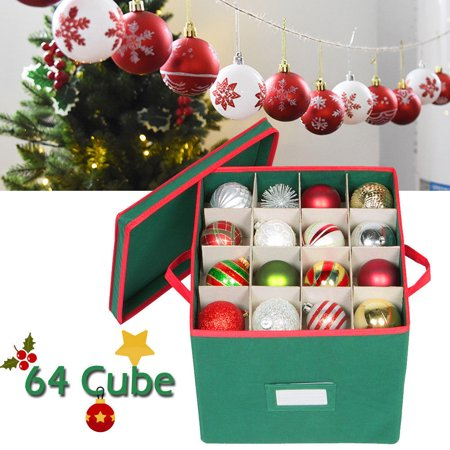 Totes Premium Christmas Ornament Storage Chest Holds,iClover Xmas Decoration Storeage Compartment With 4 Trays Holds Up to 64 Ornaments Balls, With Dividers Easy to Unfold and Assemble(Green)