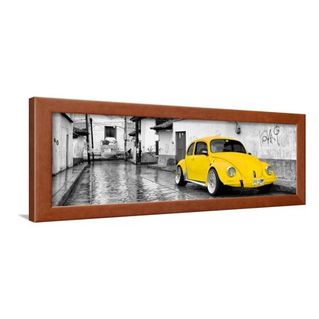 ¡Viva Mexico! Panoramic Collection - Yellow VW Beetle Car in San Cristobal de Las Casas Framed Print Wall Art By Philippe Hugonnard