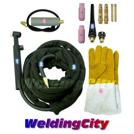 Torch Package - WeldingCity TIG Welding Torch 26V (200Amp) 12-ft Air-Cooled Complete Package for Miller Welder