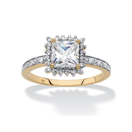 Princess-Cut Created White Sapphire and Diamond Accent Halo Engagement Ring 1.41 TCW in 18k Gold over Sterling Silver