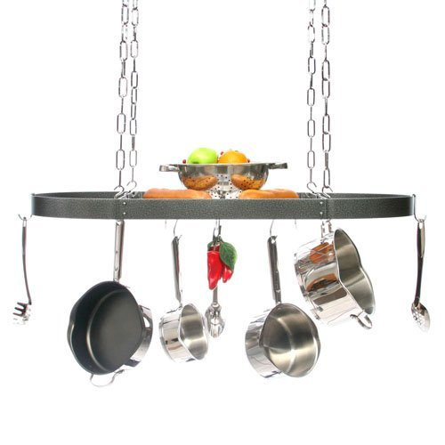 Large Gourmet Oval Kitchen Pot Rack with Grid