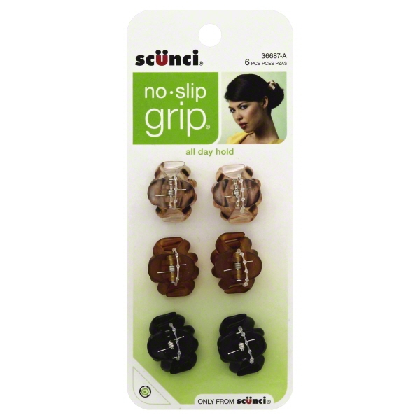 Scunci Hair Clips, 6 count