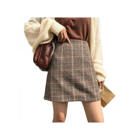 Nicesee Women Autumn Winter High Waist Woolen Plaid A-Line Short Skirt - Short Wool Skirt