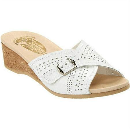 - Worishofer 251 Womens White Leather Comfort Adjustable Buckle Slide Sandals (Medium (B, M),EU 41 / US 10-11)