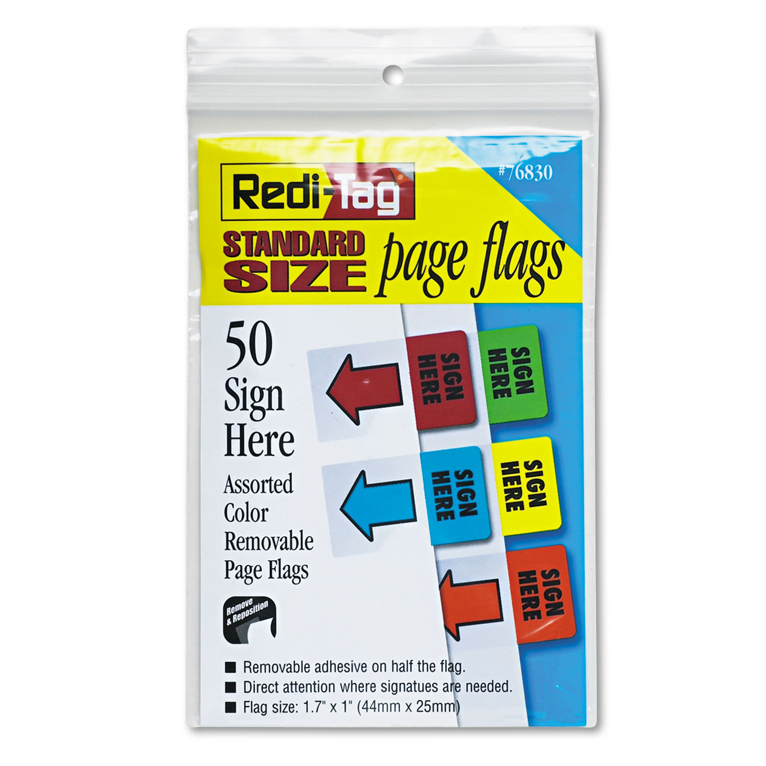 Removable Page Flags, Green/Yellow/Red/Blue/Orange, 10/Color, 50/Pack