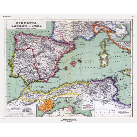 Spain And Africa Map.International Map Spain North Africa Kiepert 1903 28 98 X 23