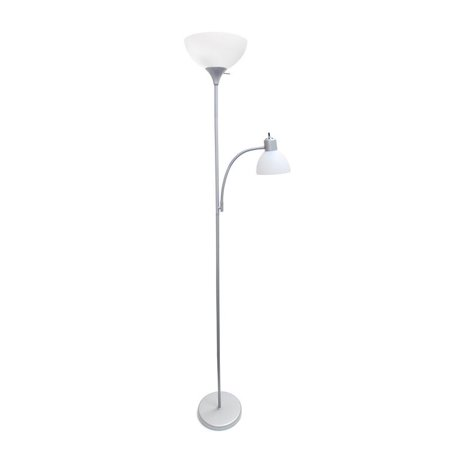 Simple Designs Floor Lamp With Reading Light Silver Walmart Com