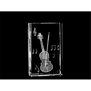 Asfour Crystal 1168-100-26 2.4 L x 4 H x 1.4 W in. Crystal Laser-Engraved Violin Music Laser-Cut