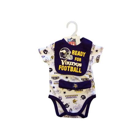 buy online 76d67 7d6e7 NFL Minnesota Vikings Bodysuit, Bib and Cap Outfit Set, 3pc