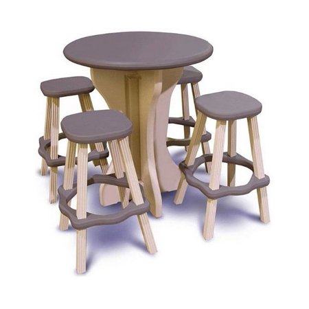 Leisure Accents Resin Weather Proof Deck Patio 30  Round Table 4 Barstools Brown
