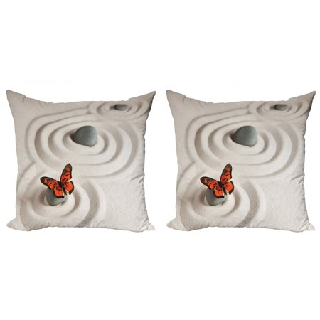 Butterfly Life Cycle Craft (Butterfly Throw Pillow Cushion Cover Pack of 2, Rock on the Sand Butterfly Serenity Life Cycle Nature Meditation Theme, Zippered Double-Side Digital Print, 4 Sizes, Beige Orange, by)