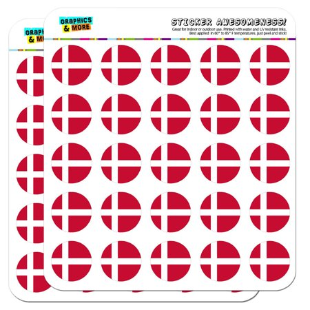 """Denmark National Country Flag 1"""" Scrapbooking Crafting Stickers"""