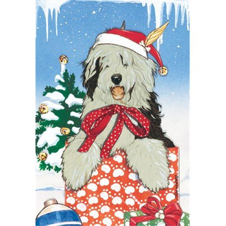Pipsqueak Productions C829 Holiday Boxed Cards- Old English Sheepdog