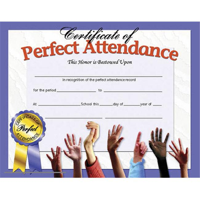 HAYES SCHOOL PUBLISHING H-VA613 CERTIFICATES PERFECT ATTENDANCE-36/PK 8-1/2 X 11 INKJET/LASER