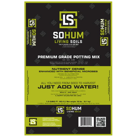 SOHUM Premium Potting Mix, Organic All-in-one Fertilizer, Soil Conditioner with Worm Castings. High Times Award Winner. For the Entire Life Cycle of the Plant from Planting to Harvest. Just Add