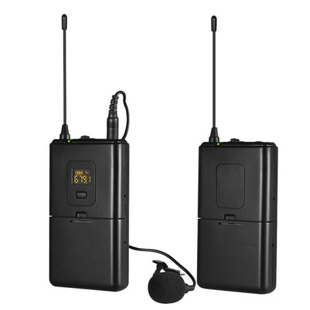 Professional UHF Wireless Microphone System Transmitter & Receivers Set 16-Channels with Lavalier Lapel Microphone Compatible with DSLR Cameras Smartphones Camcorders Ideal for Video Recording