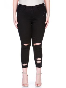 Cello Juniors' Plus Size Destructed Skinny Jean with Ankle Destroy