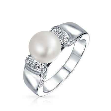 Art Deco Style Pave CZ Solitaire White Freshwater Cultured Pearl Engagement Ring For Women Silver Plated Brass