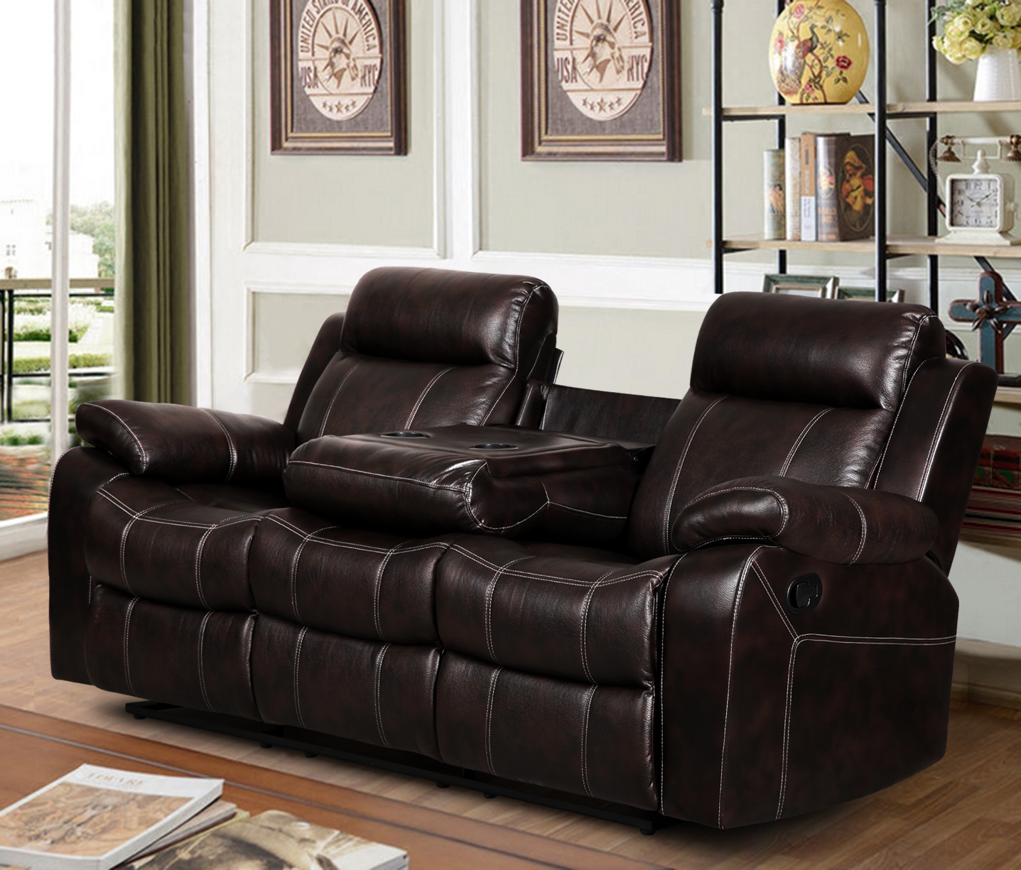 Vivienne Leather Air Reclining Sofa with Tea Table Dark Brown  sc 1 st  Walmart & Vivienne Leather Air Reclining Sofa with Tea Table Dark Brown ... islam-shia.org