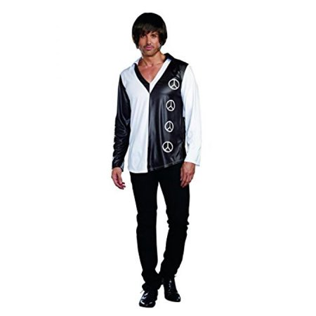 Dreamgirl Men's Yeah Baby! 60's Mod Theme Costume, Black/White, Medium