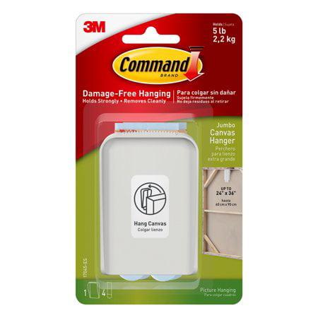Command jumbo canvas hanger, white, 1 hook, 4 strips (holds 5 lb), 3 (Jumbo Hood)