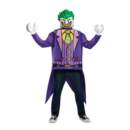 Lego Batman Joker Men's Adult Halloween Costume, One Size, (42-46) - Joker Halloween Costume Homemade