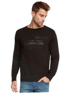 Jack & Jones Men's Crew Neck Fashion Slim Fit Sweater (Black, X-Large)