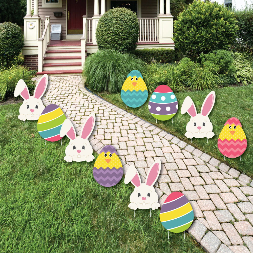 Hippity Hoppity Easter Bunny & Egg Yard Decorations Outdoor Easter Lawn... by Big Dot of Happiness, LLC