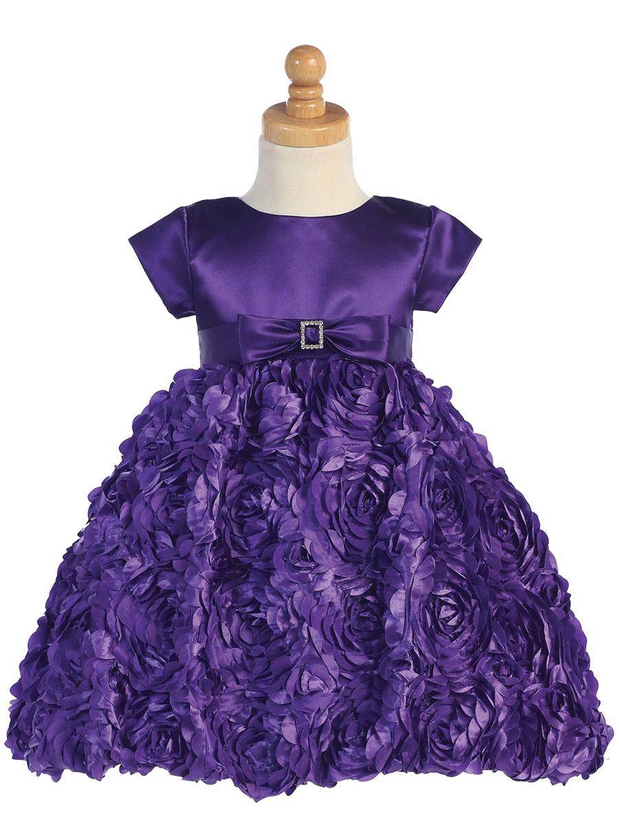 Lito Made In The Usa Purple Satin Bodice W Floral