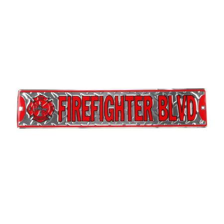 Firefighter Blvd Tin Metal Street Sign Fireman Gift Fire Dept Station Wall Decor