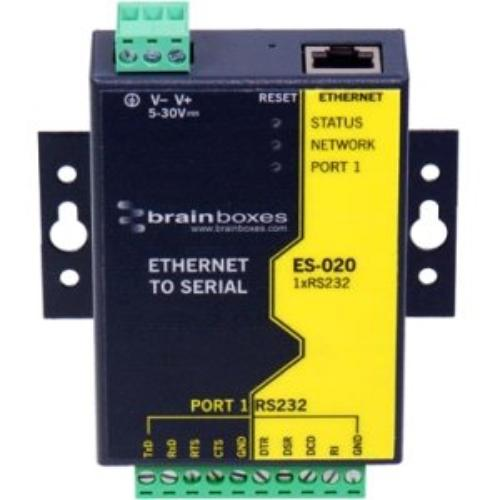 Brainboxes Ethernet 1 Port Rs232 10xscrew Terminals - 1 X Network [rj-45] - 1 X Serial Port - Fast Ethernet (es-020_3)