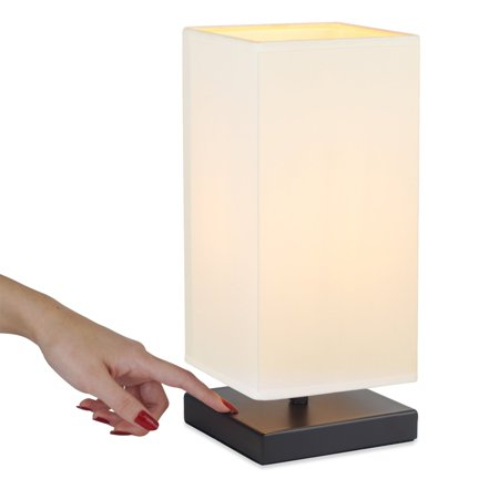 """Kira Home Revel Lucerna 13"""" TOUCH Bedside LED Table Lamp, Energy Efficient, Eco-Friendly, White Shade"""