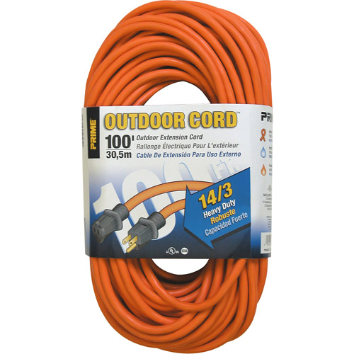 Prime Wire 100-Foot 14/3 SJTW Heavy Duty Outdoor Extension Cord, Orange