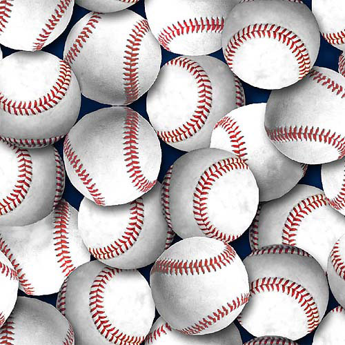 "Springs Creative Novelty Print Baseballs 44"" wide Fabric by the Yard"