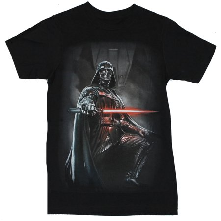 Star Wars Mens T-Shirt - Darth Vader One Leg Up Lightsaber Drawn Image - Leg Wars