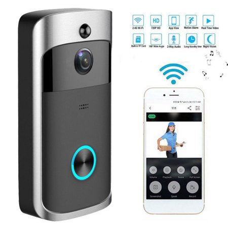 Video Wireless Doorbell Camera WiFi Doorbell GJT 720P HD Home Security Camera with Chime 166° Wide Angle Real-Time Two-Way Audio Night Vision PIR Motion Detection App Control for iOS and