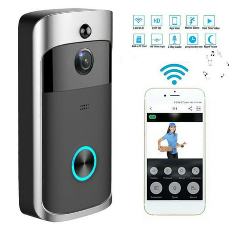 Video Wireless Doorbell Camera WiFi Doorbell GJT 720P HD Home Security Camera with Chime 166° Wide Angle Real-Time Two-Way Audio Night Vision PIR Motion Detection App Control for iOS and Android (Stop Motion Video Camera)