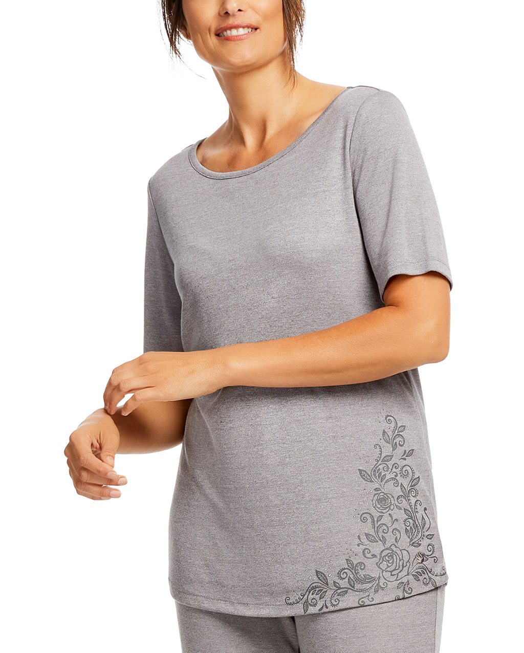 Gloria Vanderbilt Women's and Women's Plus Laura B Short Sleeve Sleep Top